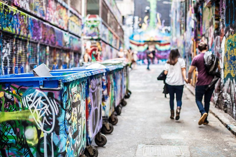 One of the many laneways famous for graffiti in Melbourne
